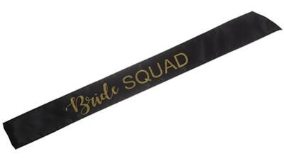 Bride Squad Sash (Black/Gold)