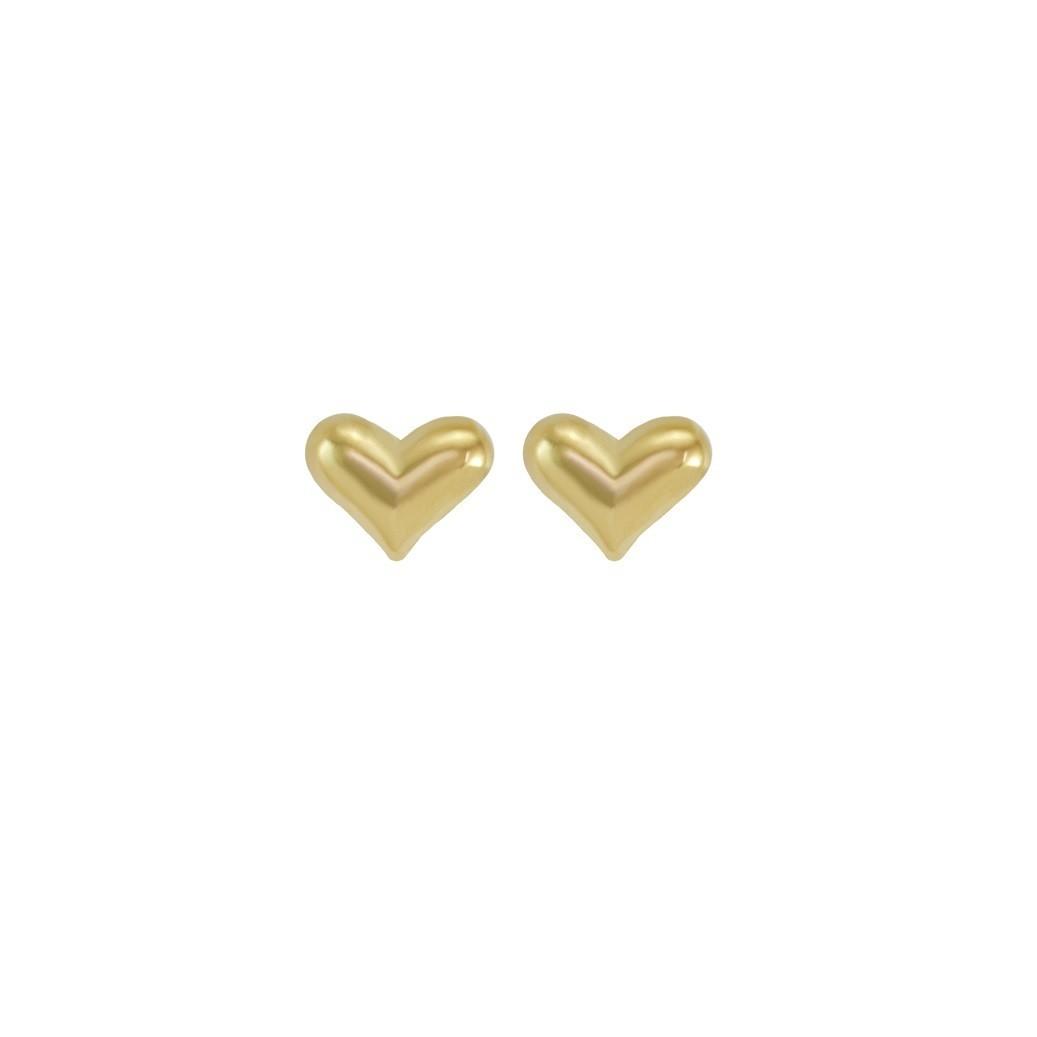 Aretes Ortopedicos de Corazon oro amarillo 18k seguro de tornillo