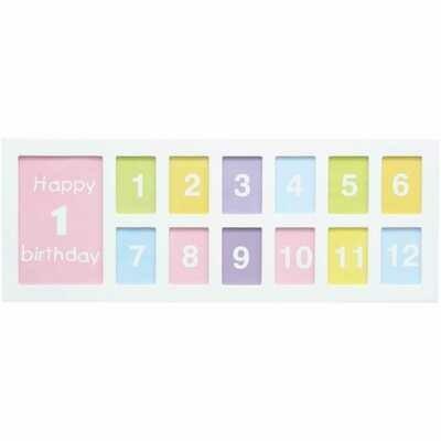Cadre photo multivues S66RZ1 P13 - rectangle - bois blanc - pour 12 photos 5x7cm + 1 photo 10x15