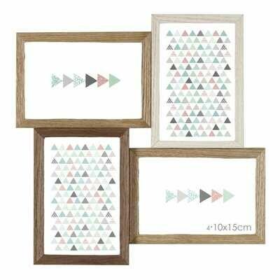 Cadre photo multivues Scandi - multivues pour 4 photos 10x15 - 3 couleurs : blanc, bois brut et naturel
