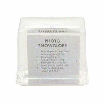 Boule à neige Rectangle - avec insertion photo - Paillettes - Dim. 7,5x6cm
