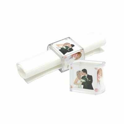 Rond de serviette - 4x4cm - Résine transparente - Pour photo 3.7x14.5 cm