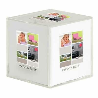 Cadre photo multivues Béa Cristal cube en plexiglas pour 6 photos 9x9cm