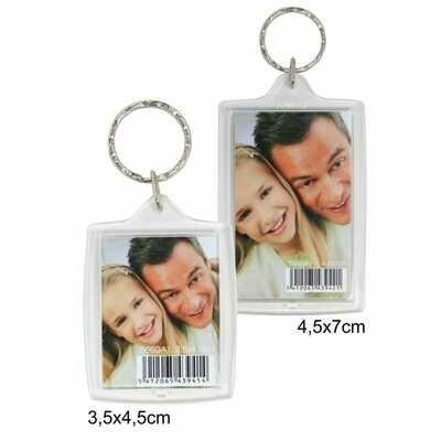 Porte-clef photo rectangle - Plexi - Pour photo 3,5x4,5cm
