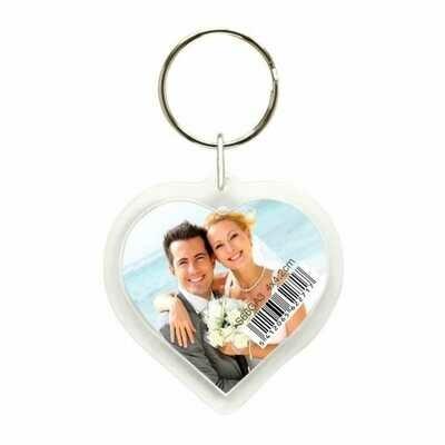 Porte-clef photo cœur plexi - pour photo 4x4,2cm