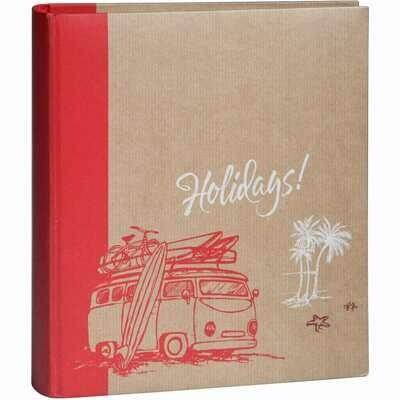 Album photo pochettes avec mémo KRAFTTY - 100 pages kraft - 500 photos - Couverture Rouge 37x33,8cm
