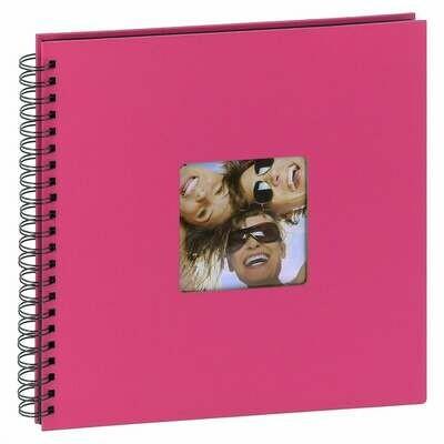Album photo traditionnel FUN - 50 pages noires - 200 photos - Couverture Fushia 30x30cm classique série ''Fun'' à spirales 200 photos 10x15 ou 100 photos 13x18 - Fushia - Couverture rigide classique