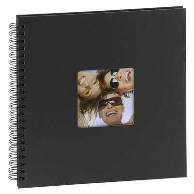 Album photo traditionnel FUN - 50 pages noires - 200 photos - Couverture noire 30x30cm classique série ''Fun'' à spirales 200 photos 10x15 ou 100 photos 13x18 - Noire - Couverture rigide classique