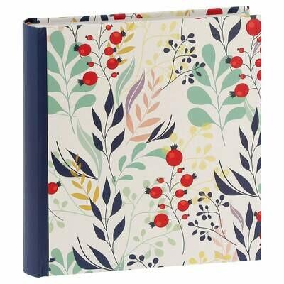 Album photo pochettes avec mémo FLOWERS - 100 pages blanches - 200 photos - Couverture Bleue 24x24,8cm