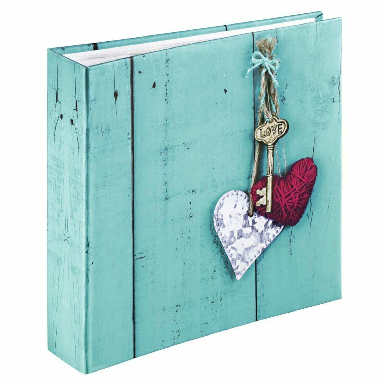 HAMA - Album photo pochettes avec mémo RUSTICO LOVE KEY - 100 pages blanches - 200 photos - Couverture Bleue 22,5x22cm