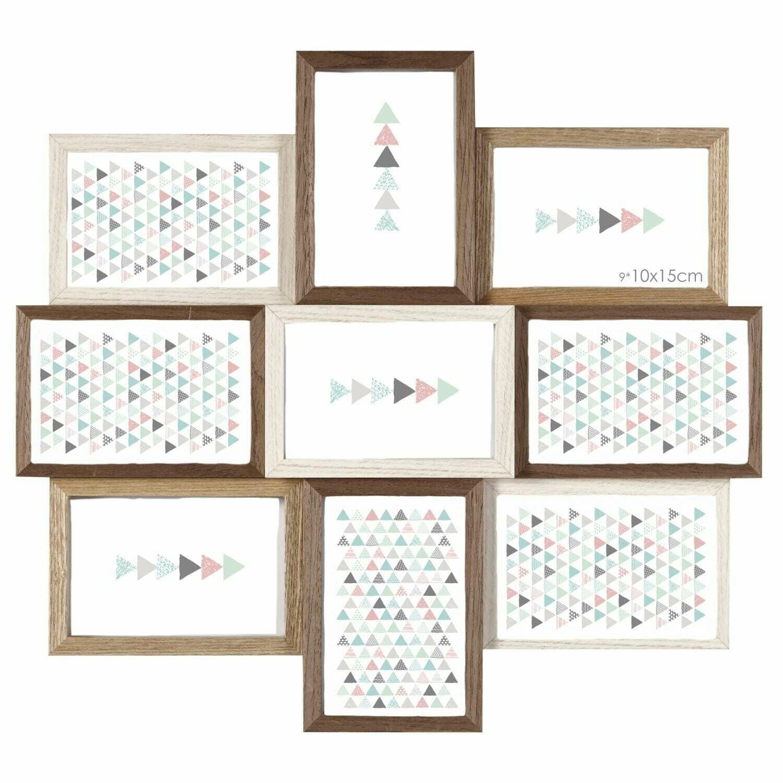 BRIO - Cadre photo multivues Scandi - multivues pour 9 photos 10x15 - 3 couleurs : blanc, bois brut et naturel