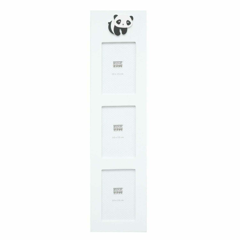 DEKNUDT - Cadre photo multivues bois blanc avec panda pour 3 photos 10x15cm