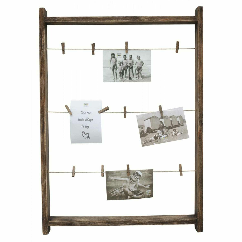 DEKNUDT - Cadre photo multivues en bois brun avec des pinces à linge
