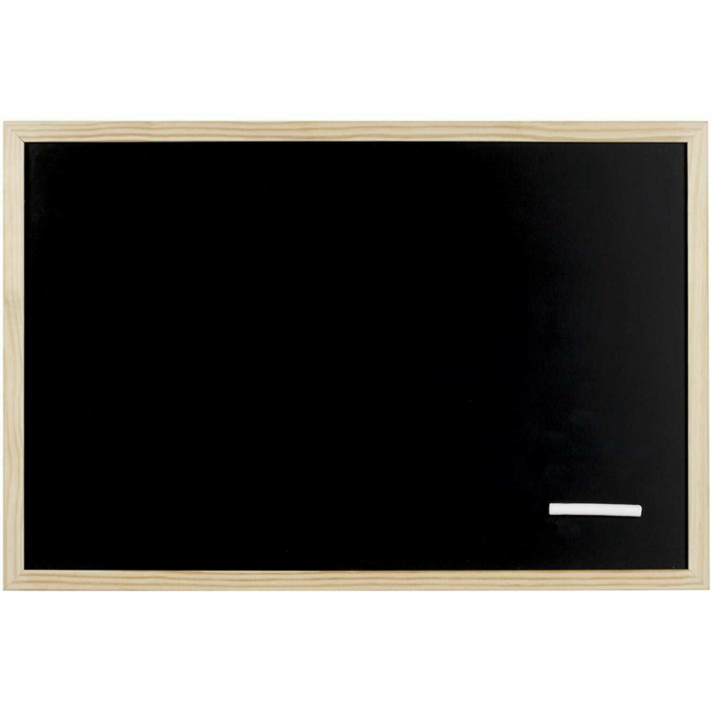 Pense bête Tableau Noir + 1 craie - Contour Pin Brut - Dim. 40x60cm