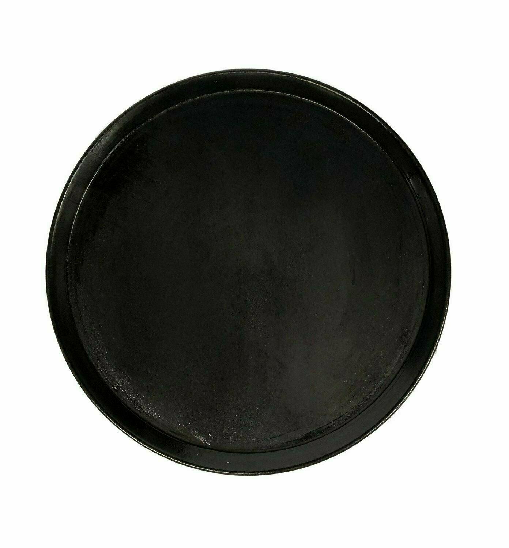 "11"" Black Steel Pizza Tray Plain"