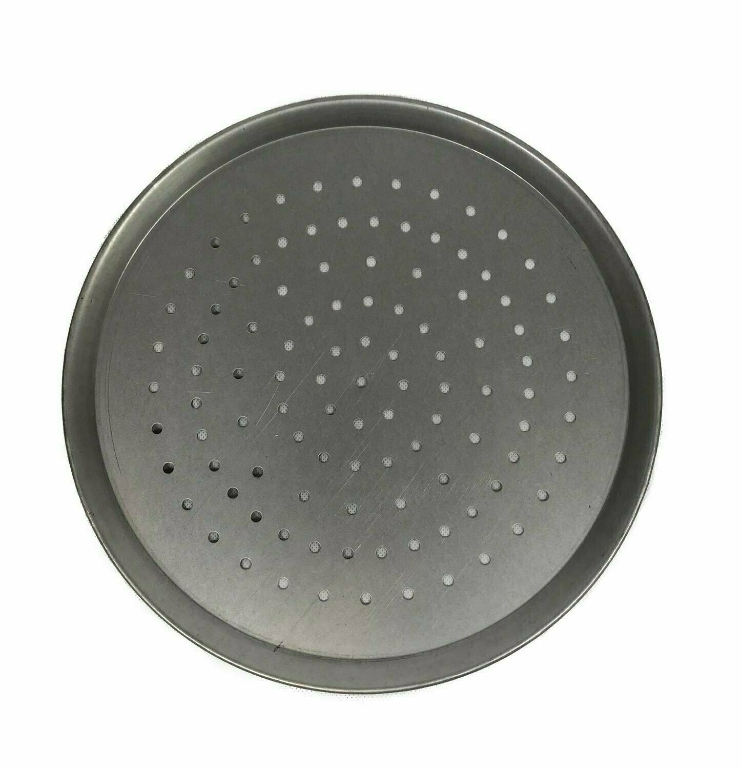 """11"""" White Steel Pizza Tray Perforated"""
