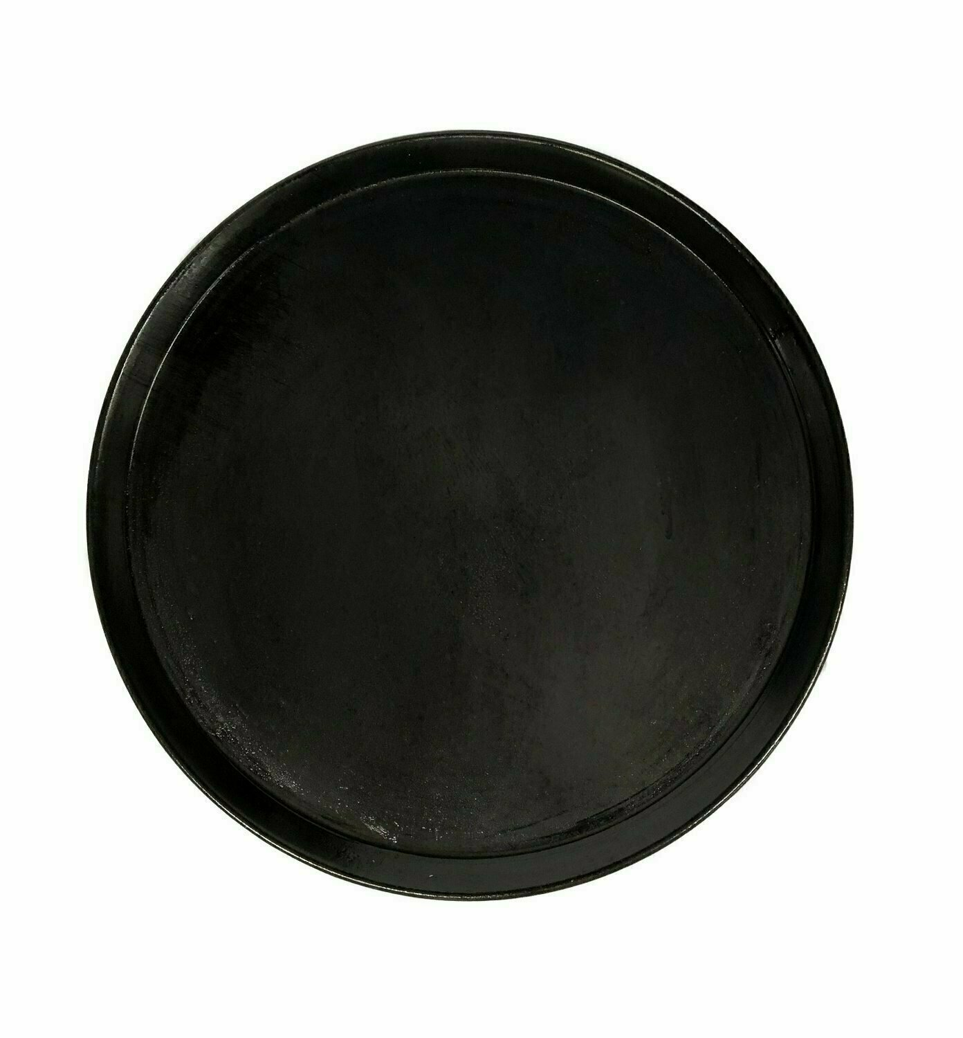 "14"" Black Steel Pizza Tray Plain"