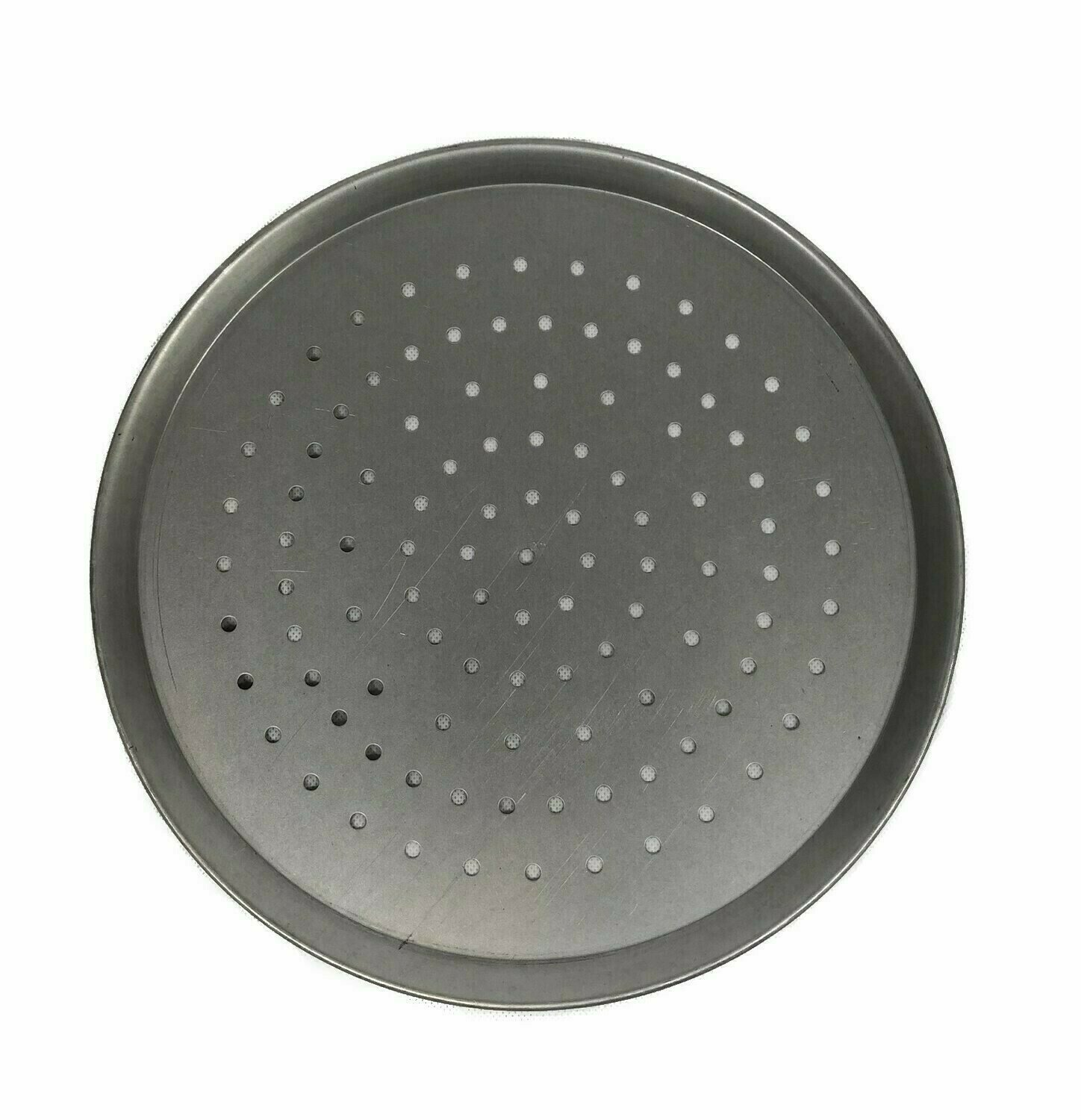 """9"""" White Steel Pizza Tray Perforated"""