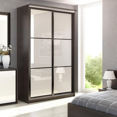 Встроенный шкаф-купе с дверями из матового стекла (серебро), ширина 1000 - 3500 мм.