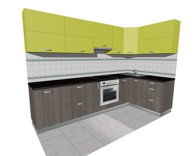 Кухня 3х1,5м (встроенная плита)