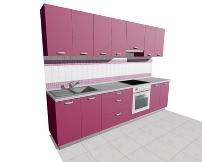Кухня 3м (встроенная плита) матовая