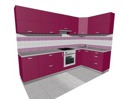 Кухня 3х1,5м (встроенная плита) матовая