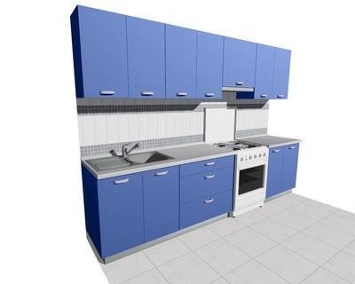Кухня 3м (стационарная плита) глянцевая