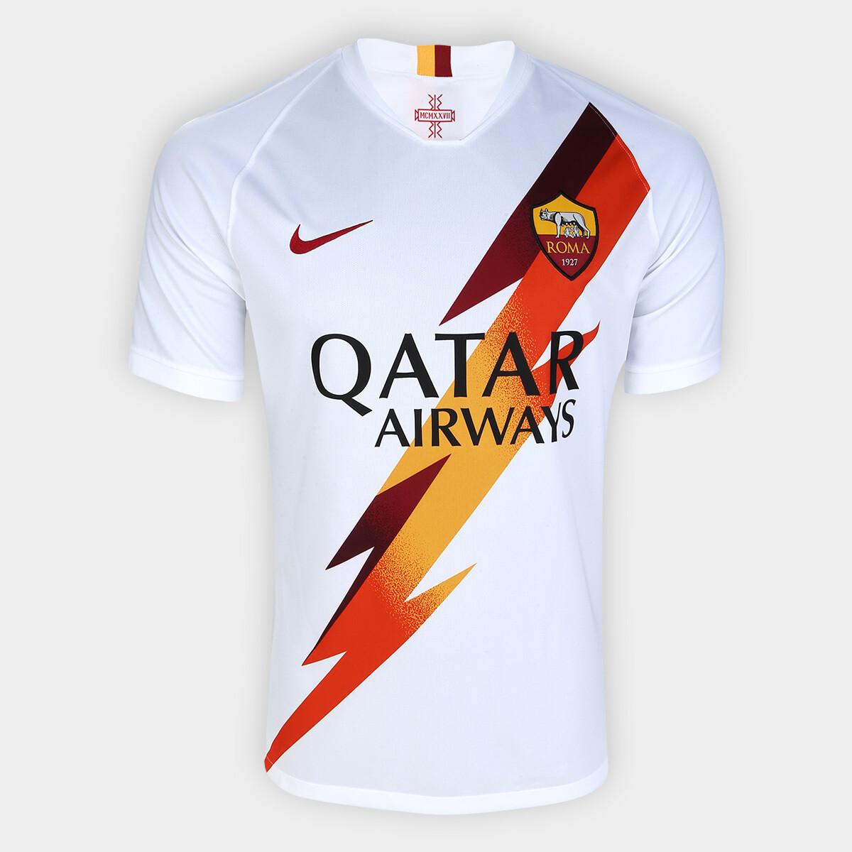 Camisa Roma Away 19/20 Torcedor Nike Masculina - Branco e Vinho