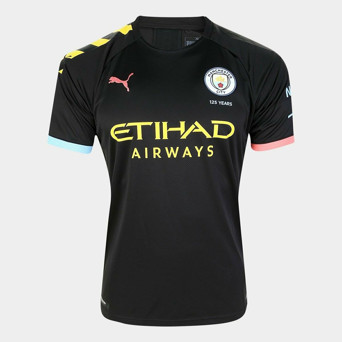 Camisa Manchester City Away 19/20  Puma - Preto e Laranja