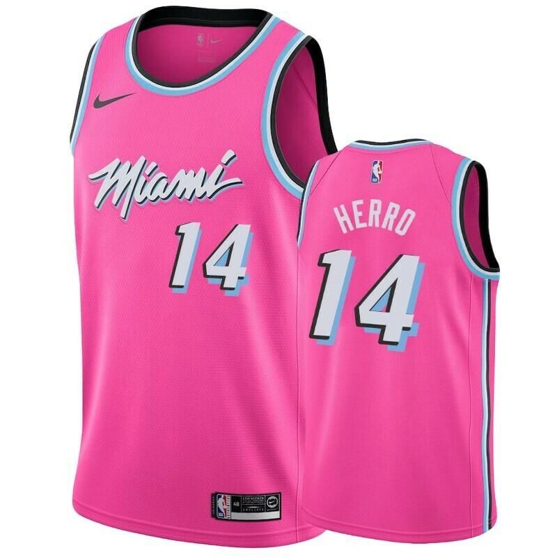 Camiseta Regata Esportiva Basquete NBA Miami Heat City Edition Vice pink Wade #14
