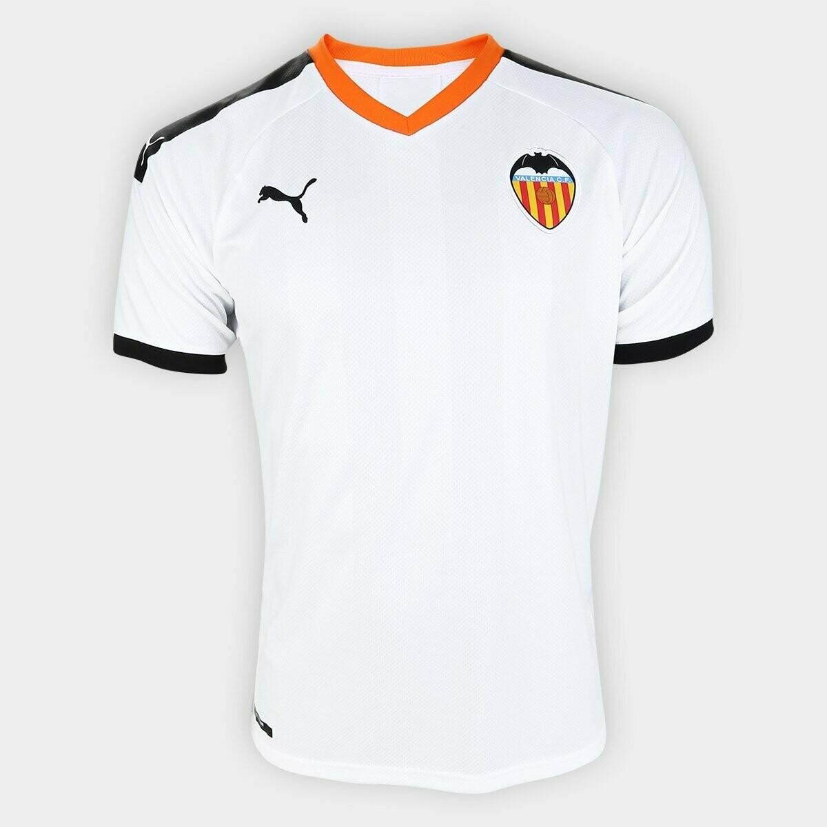 Camisa Valencia Home 19/20  Torcedor Puma Masculina - Branco e Preto