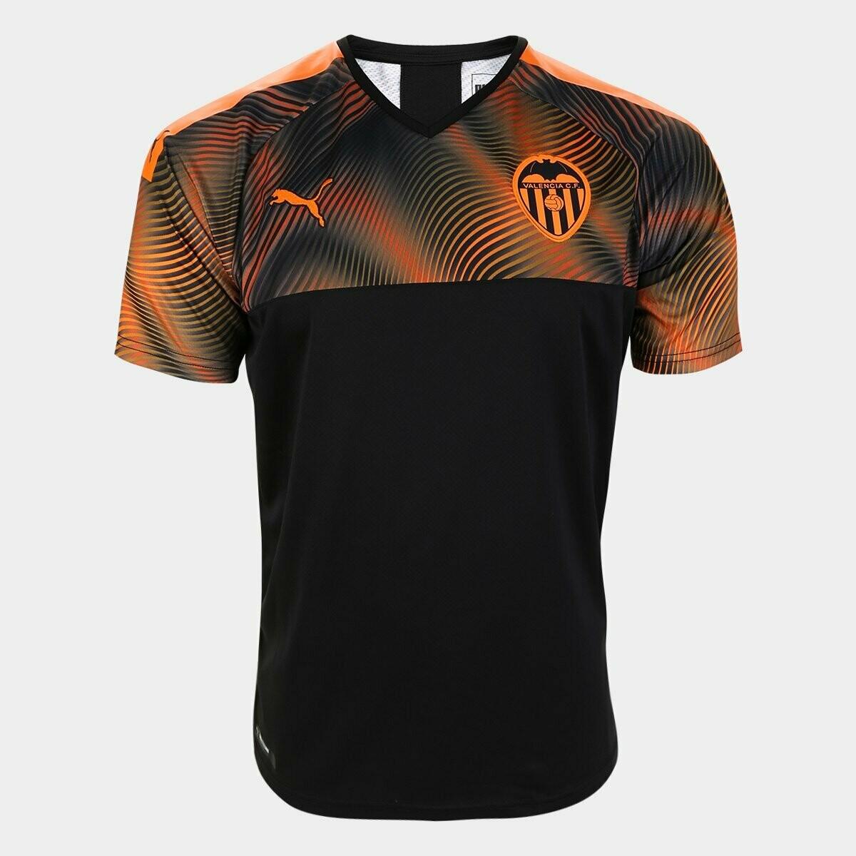 Camisa Valencia Away 19/20  Torcedor Puma Masculina - Preto e Laranja