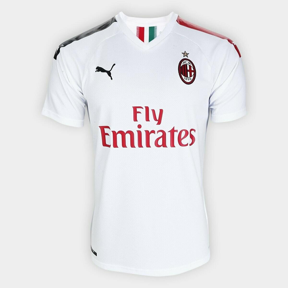 Camisa Milan Away 19/20 Torcedor Puma Masculina - Branco e Vermelho
