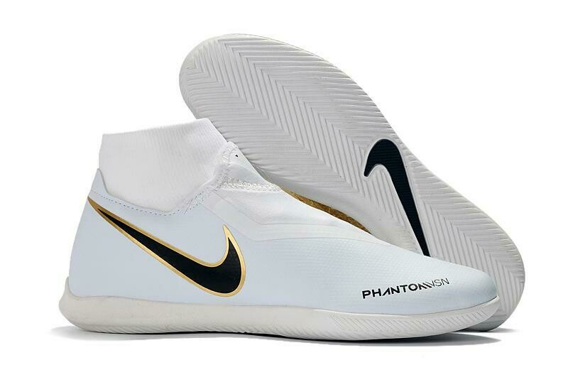 Chuteira Nike Phantom Vision Elite Dynamic Fit IC Dourado/Branco