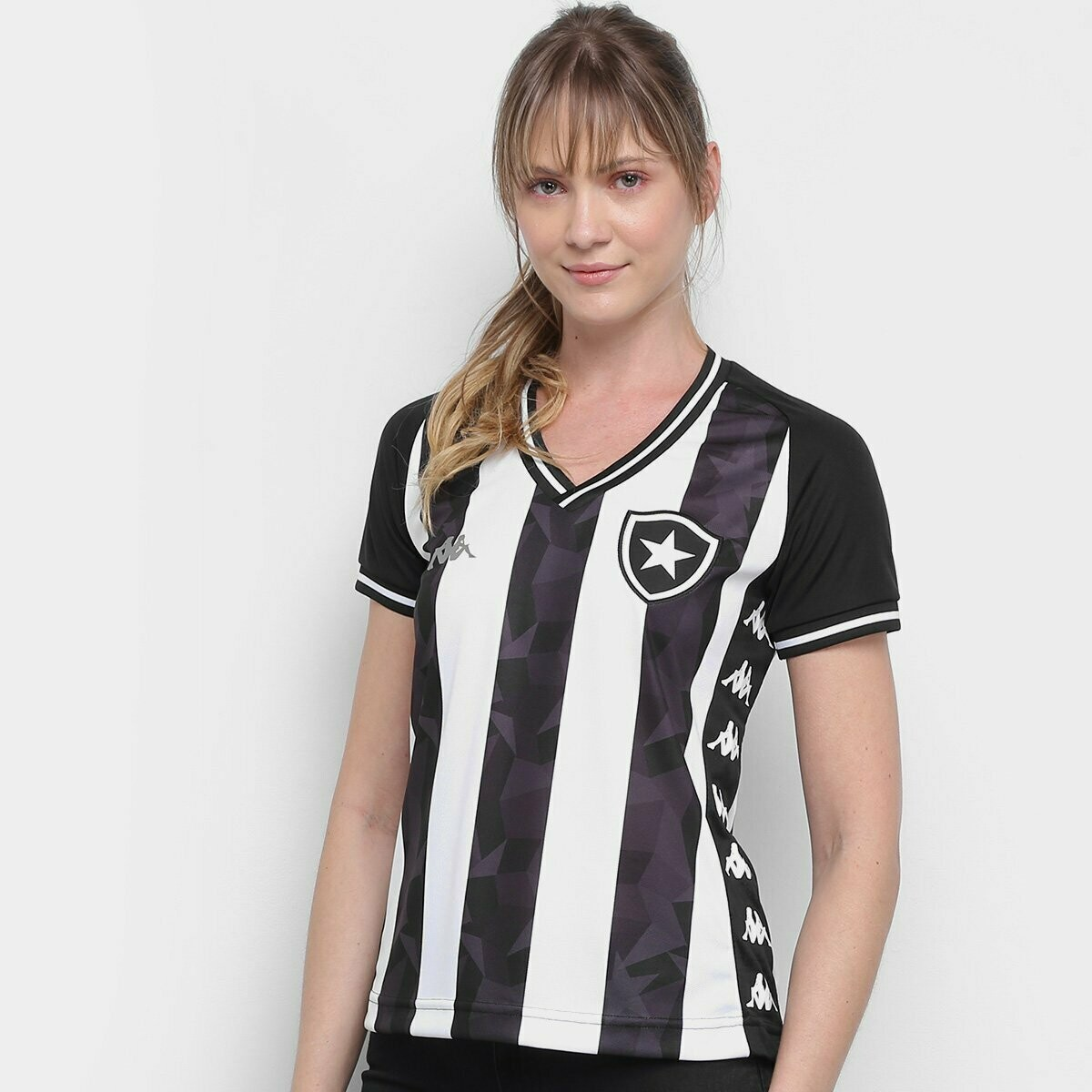 Camisa Botafogo I 19/20 Torcedor Kappa Feminina - Preto e Branco