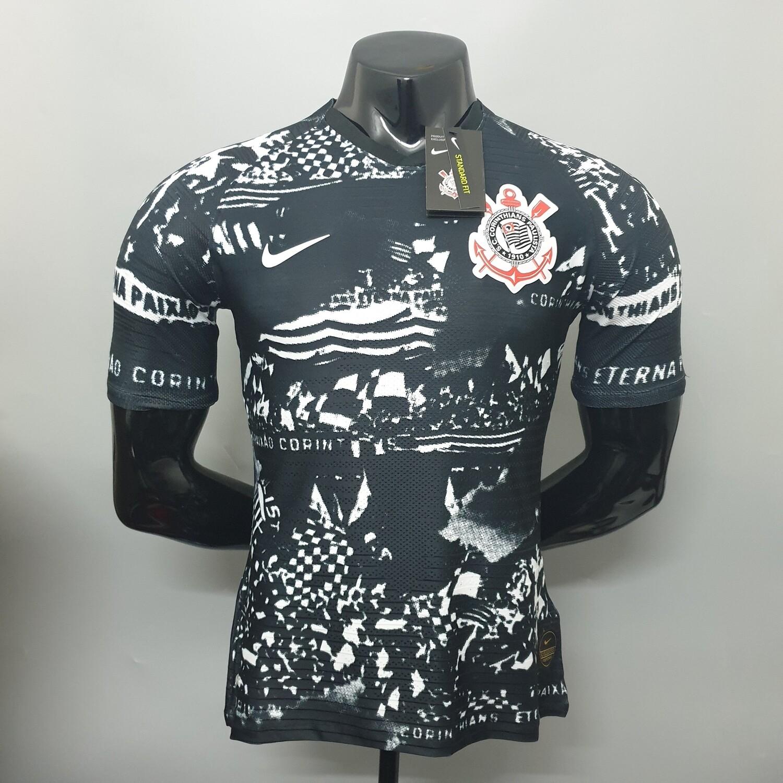 Camisa Corinthians III Invasões 19/20 Jogador Nike Masculina - Preto e Branco