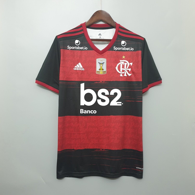 Camisa do Flamengo I 2020/2021 adidas - Masculina Com Patrocínios-Patch Brasileirão