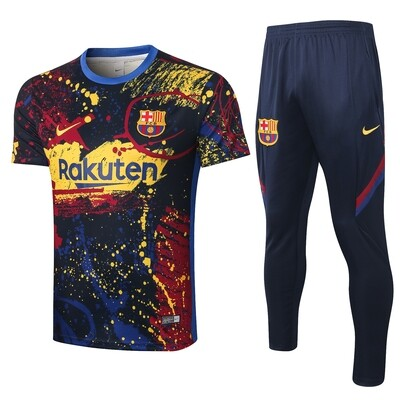 Conjunto de Treino Barcelona 2020 camisa manga curta