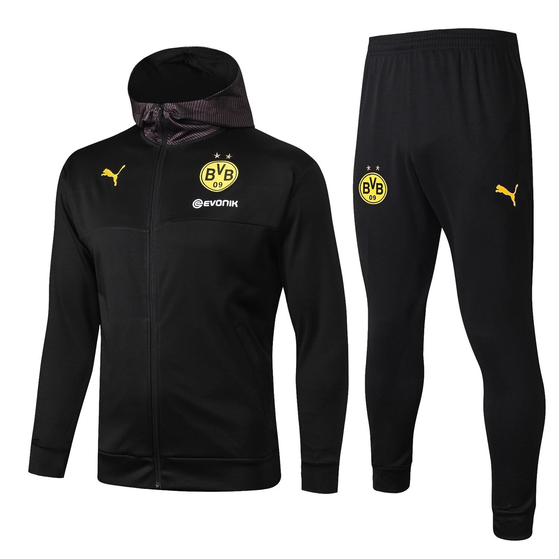 Kit Agasalho Borussia Dortmundx - capuz 19/20 Preto