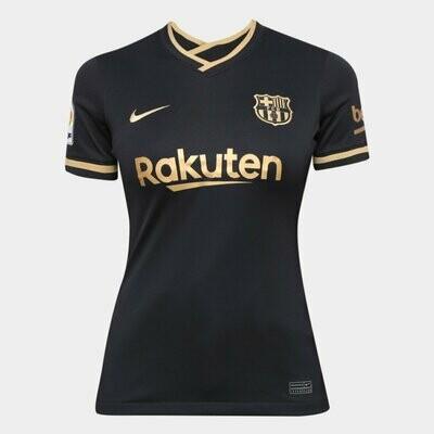 Camisa Barcelona Away 20/21 Torcedora Nike Feminina - Preto e Dourado