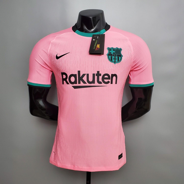 Camisa  Barcelona 2020-2021 Nike Uniforme 3 Rosa Jogador