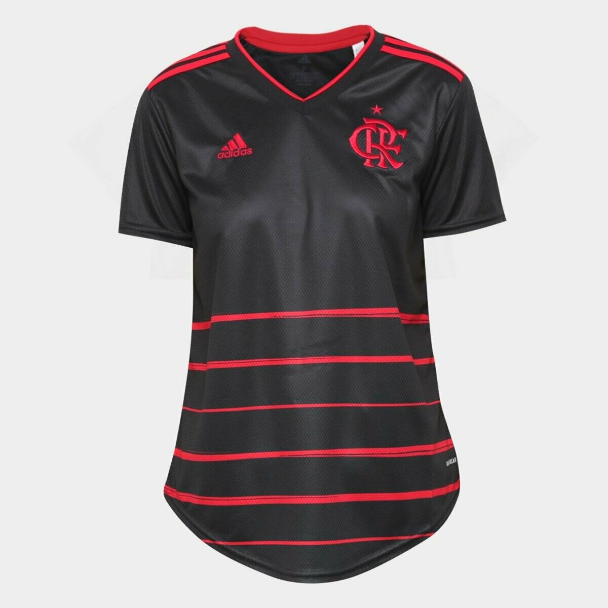 Camisa Flamengo III 20/21  Torcedor Adidas Feminina - Preto e Vermelho