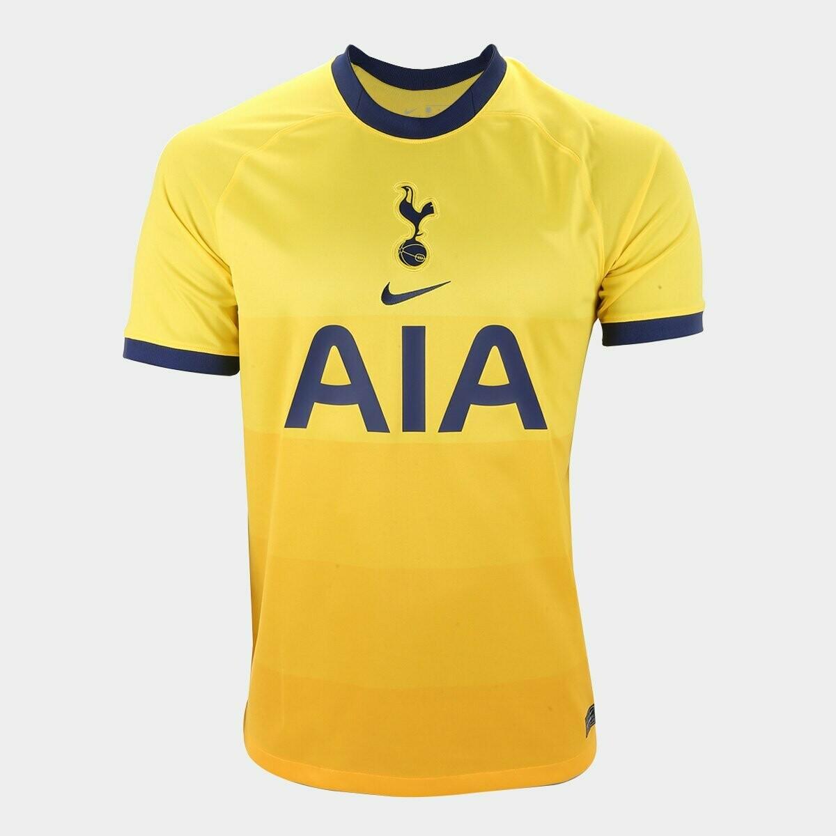 Camisa Tottenham Third 20/21  Torcedor Nike Masculina - Amarelo e Azul