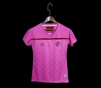 Camisa Fluminense Outubro Rosa 20/21 Torcedor Umbro Feminina - Rosa e Vinho