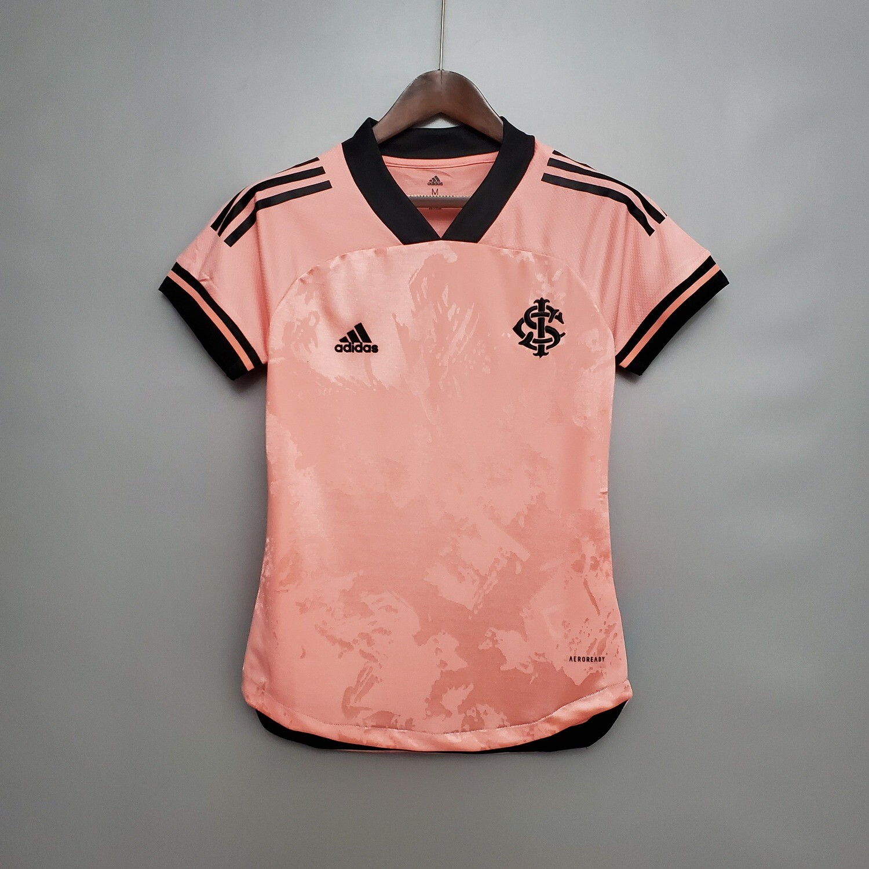 Camisa Internacional Outubro Rosa 20/21 Torcedor Adidas Feminina - Rosa e Preto