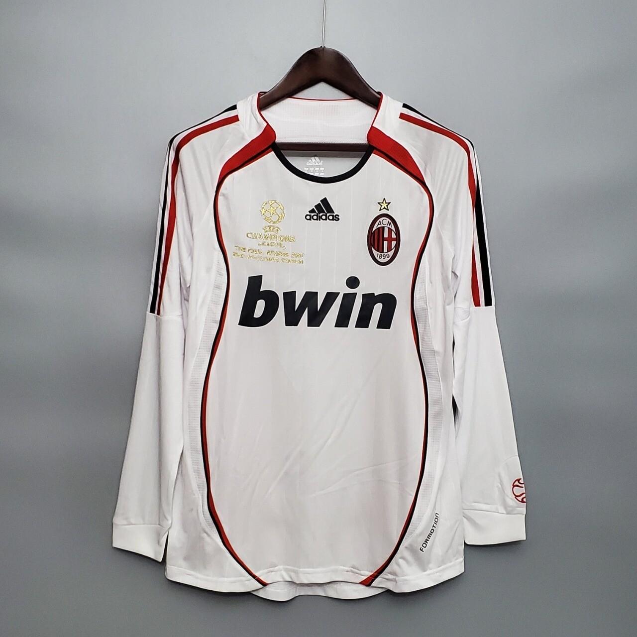 Camisa Milan 2006-2007  Branca Manga Longa