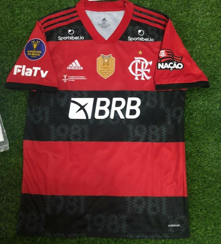 Camisa Adidas Flamengo I 2021/2022 Patrocínio e Patch - Supercopa do Brasil