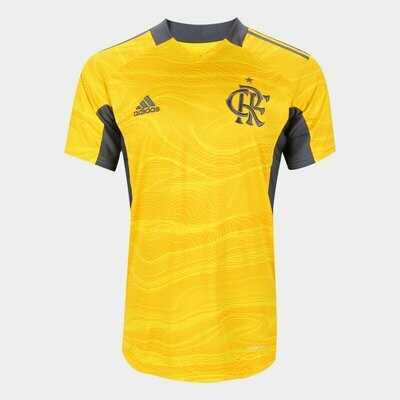 Camisa de Goleiro Flamengo I 21/22 Torcedor Adidas Masculina - Amarelo+Cinza