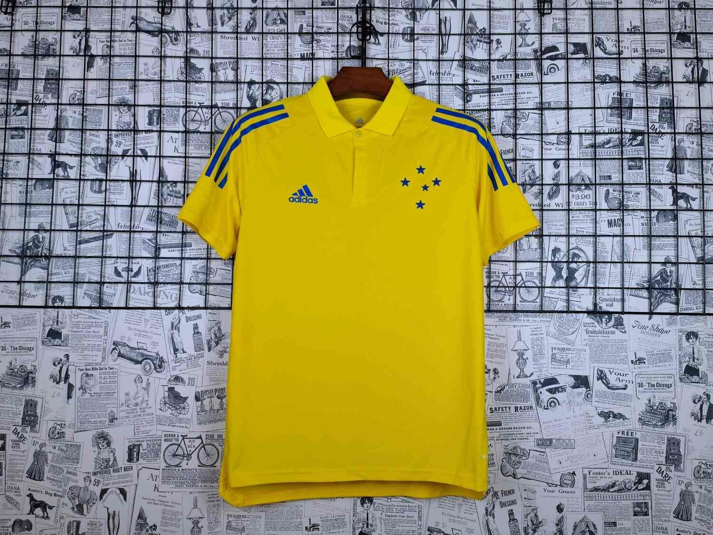 Camisa Polo Cruzeiro Viagem 21/22 Adidas Masculina - Amarelo