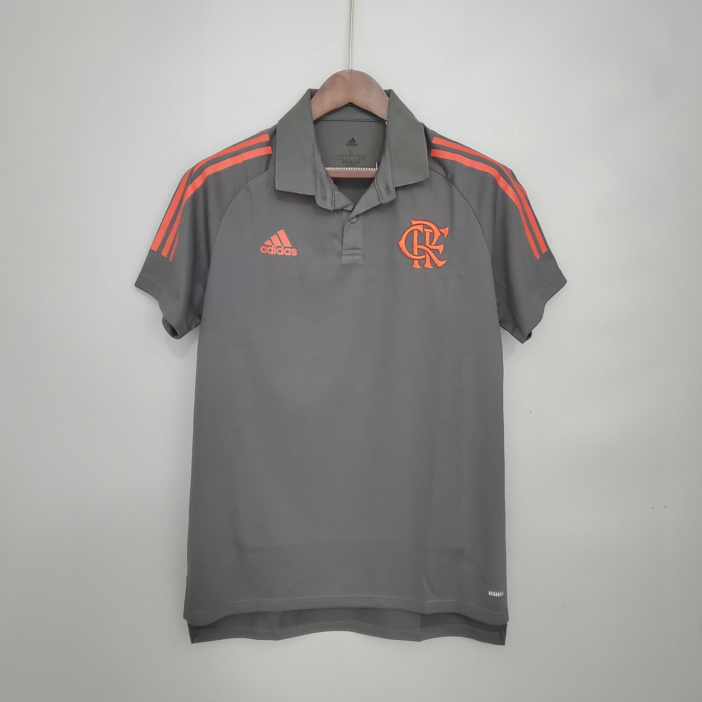 Camisa Polo Flamengo Viagem 21/22 Adidas Masculina - Cinza